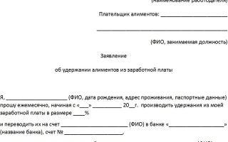 Заявление на удержание алиментов из заработной платы: образец для бухгалтерии, добровольная уплата