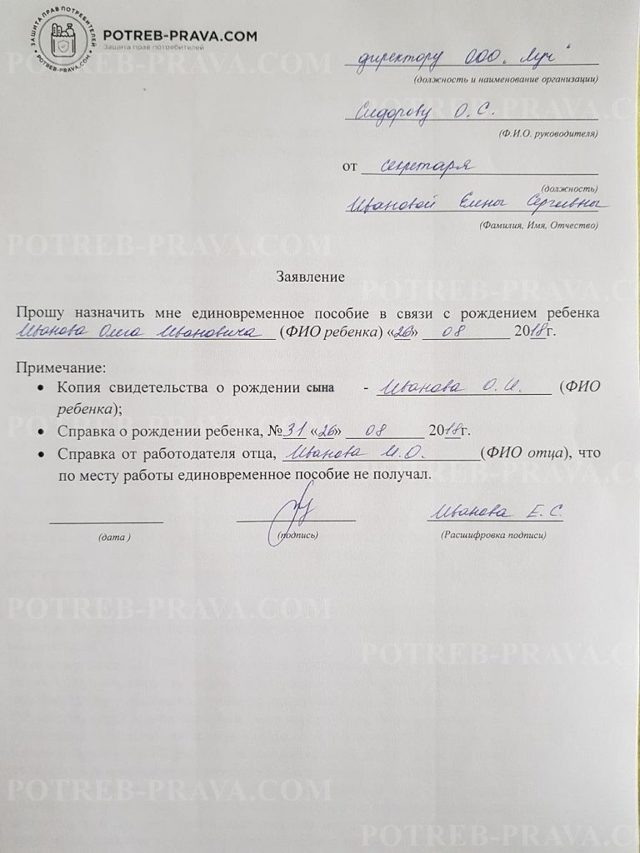 Заявление на единовременное пособие при рождении ребенка: образец, назначение и получение выплат